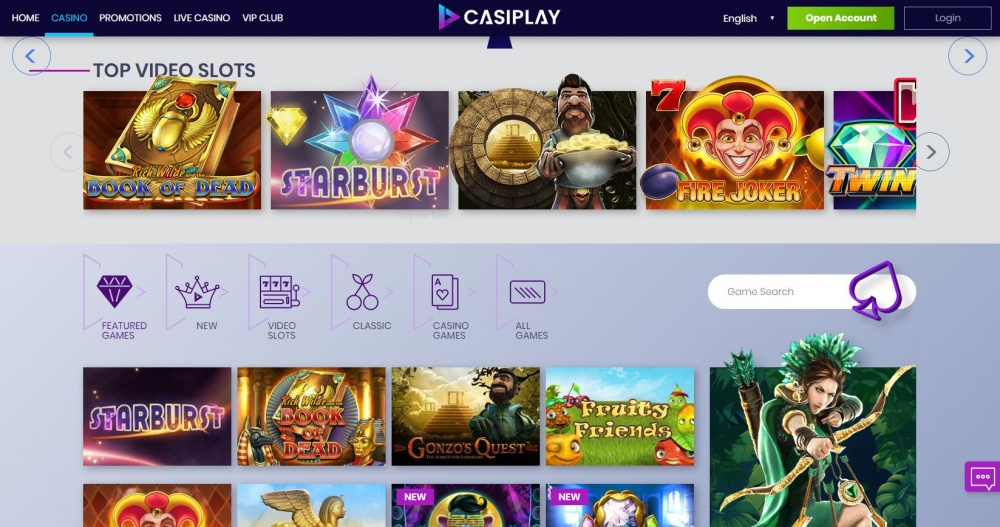 Picture of Casiplay´s slot games filter