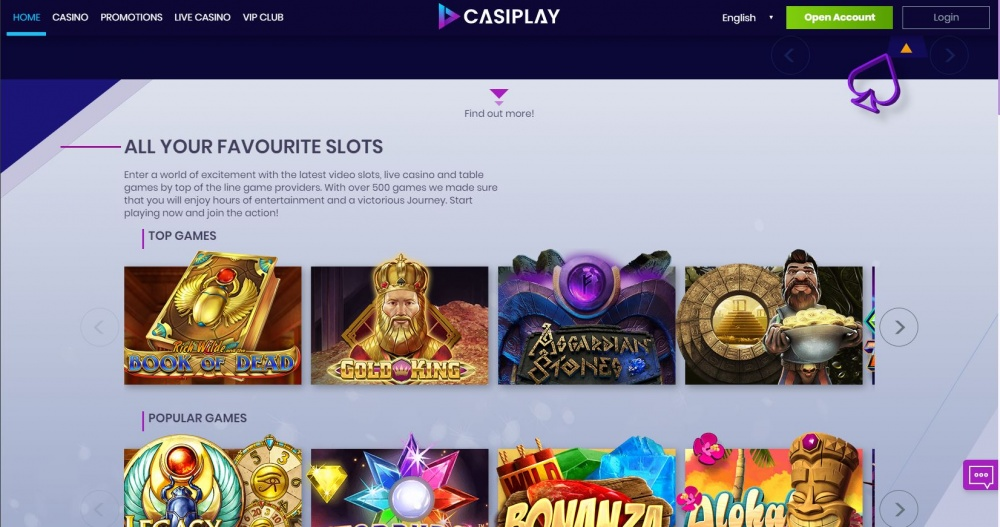 Picture of Casiplay´s slot game page