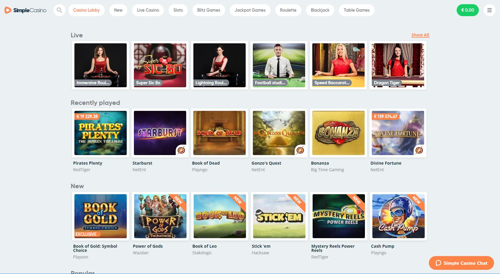 Picture of Simple casinos slot games page