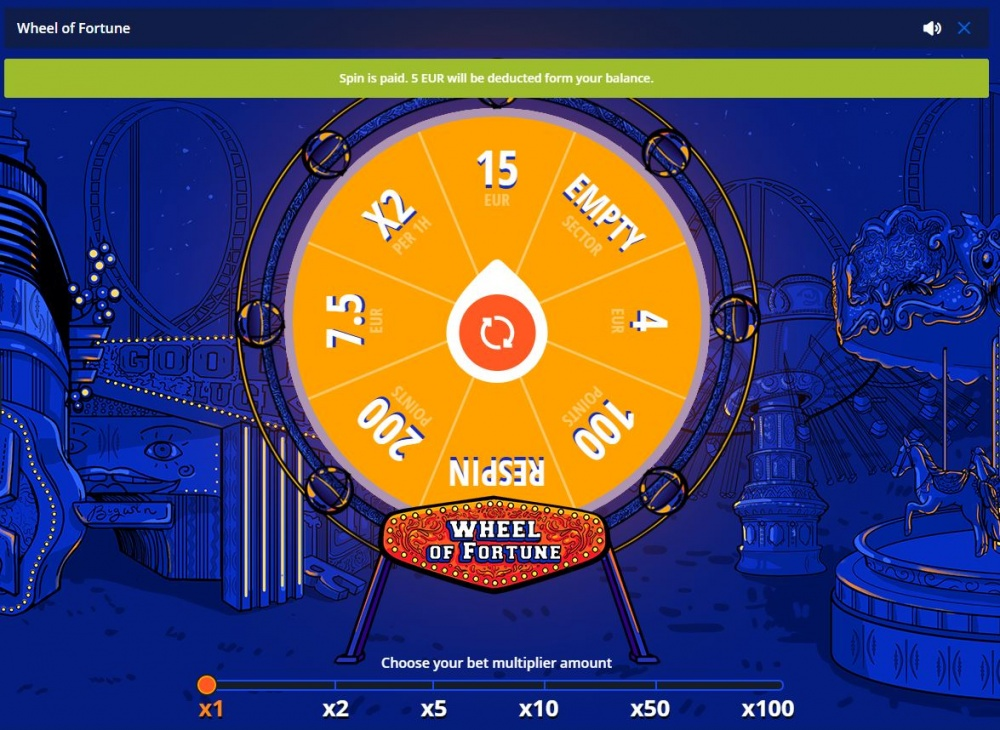Picture of Wheel of Fortune section at Vulkan Vegas online casino