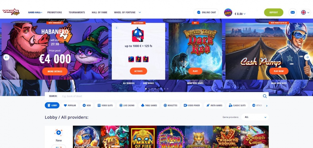 Picture of Vulkan Vegas Slot games page