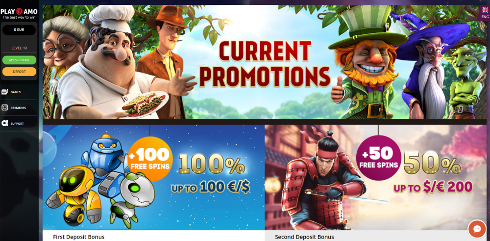 Page showing the welcome bonus at Playamo online casino