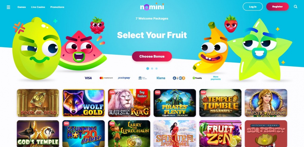 showing Nomini casino start page