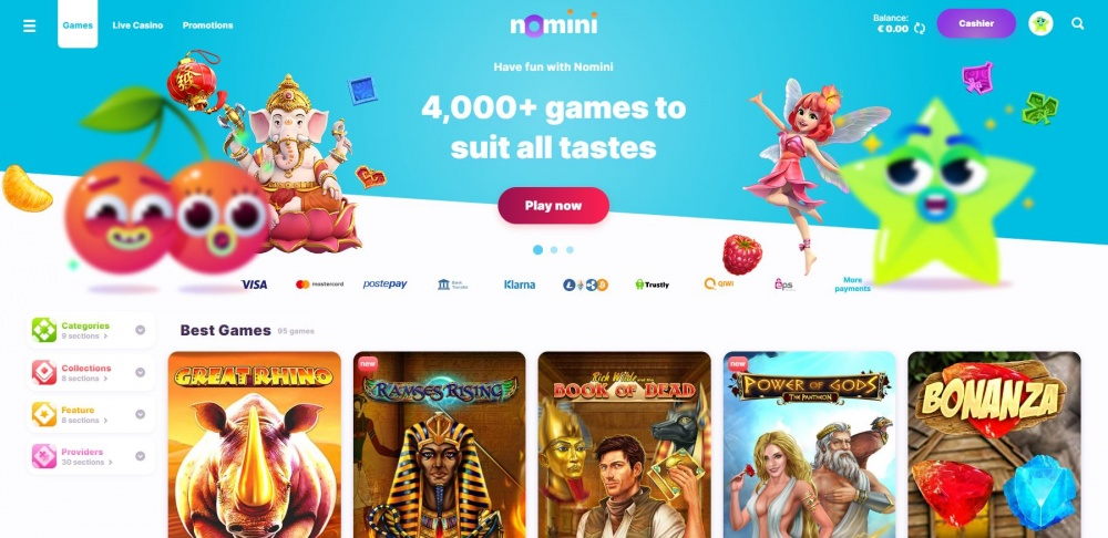 Showing the Casino slots page with extensive slots filter