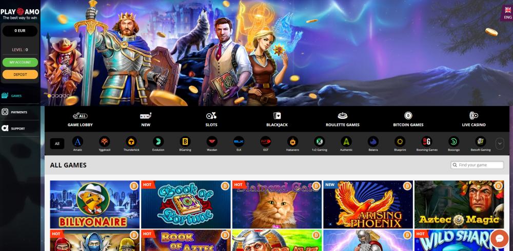 Slot page at Playamo