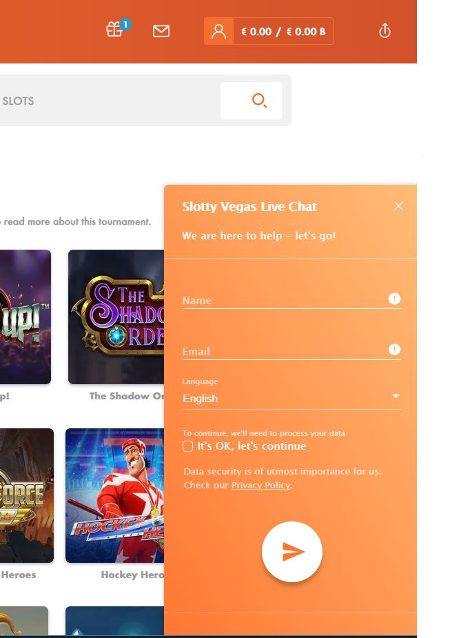 View of the live chat support widget at Slottyvegas Casino