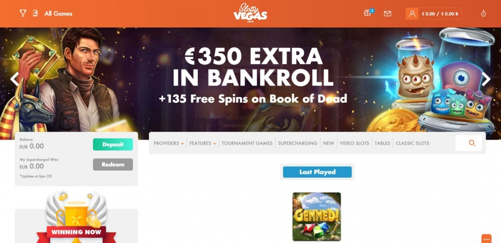 View of the first page on Slottyvegas online casino