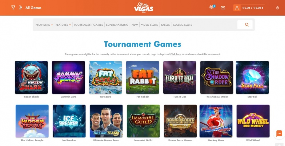 View of the slot page on Slottyvegas casino