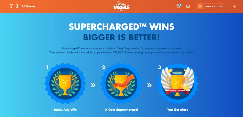 """View of the feature \""""Supercharged wins\"""" at Slottyvegas online casino"""