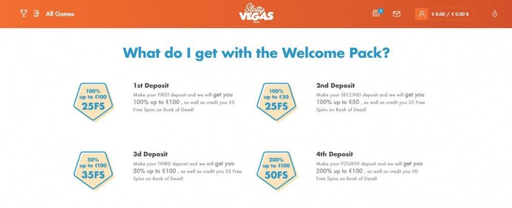 View of the welcome bonus on Slottyvegas online casino