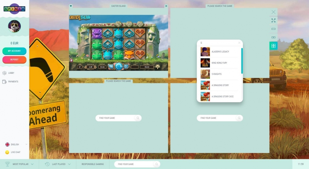 Showing Spinia multi slot screen view