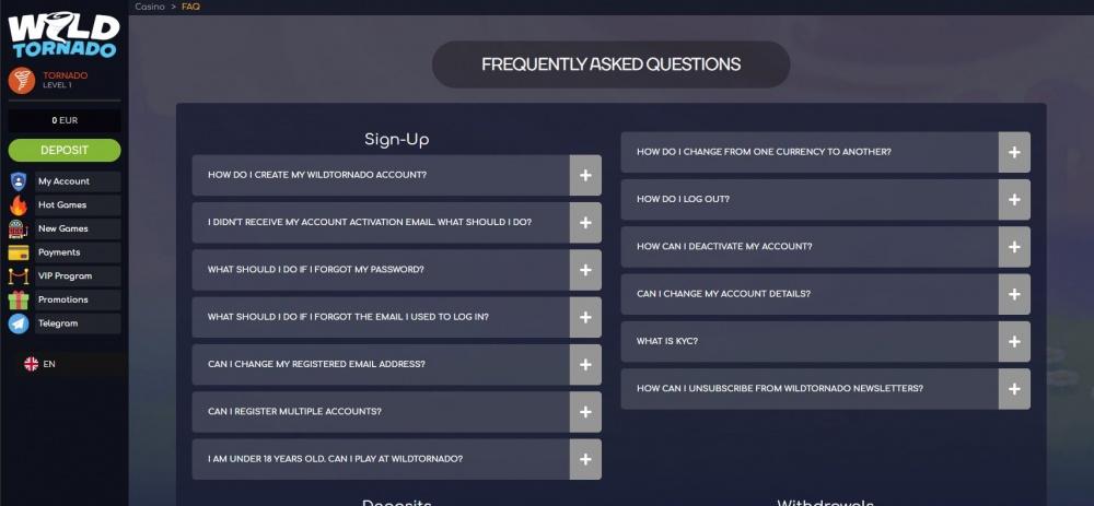 View of Wild Tornado FAQ page