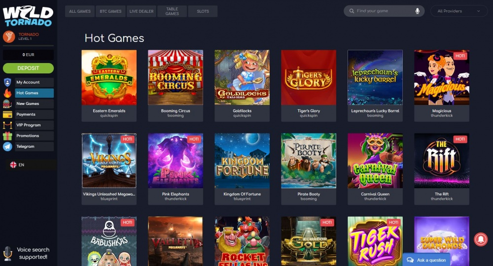 View of the Casino slots page