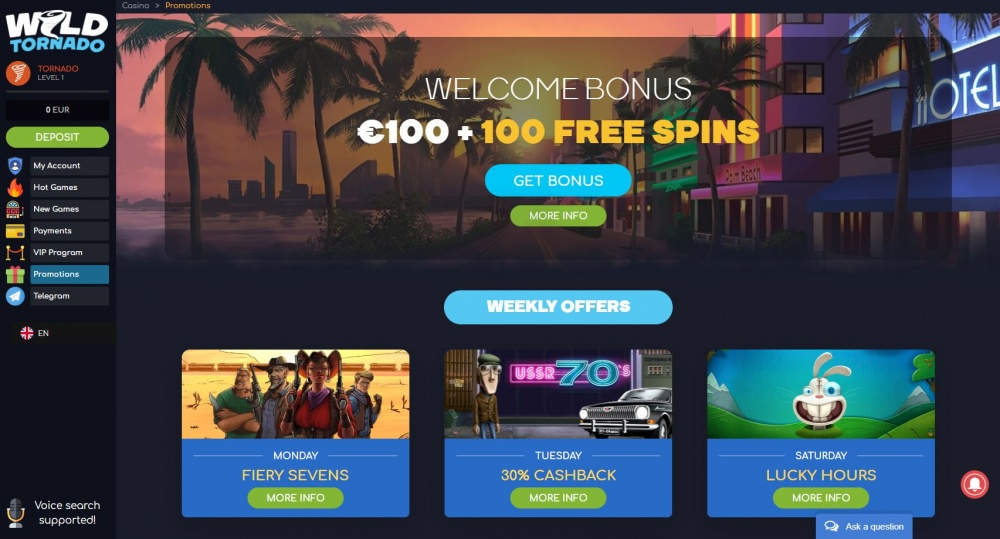 View of Wild Tornado casino Promotion pages