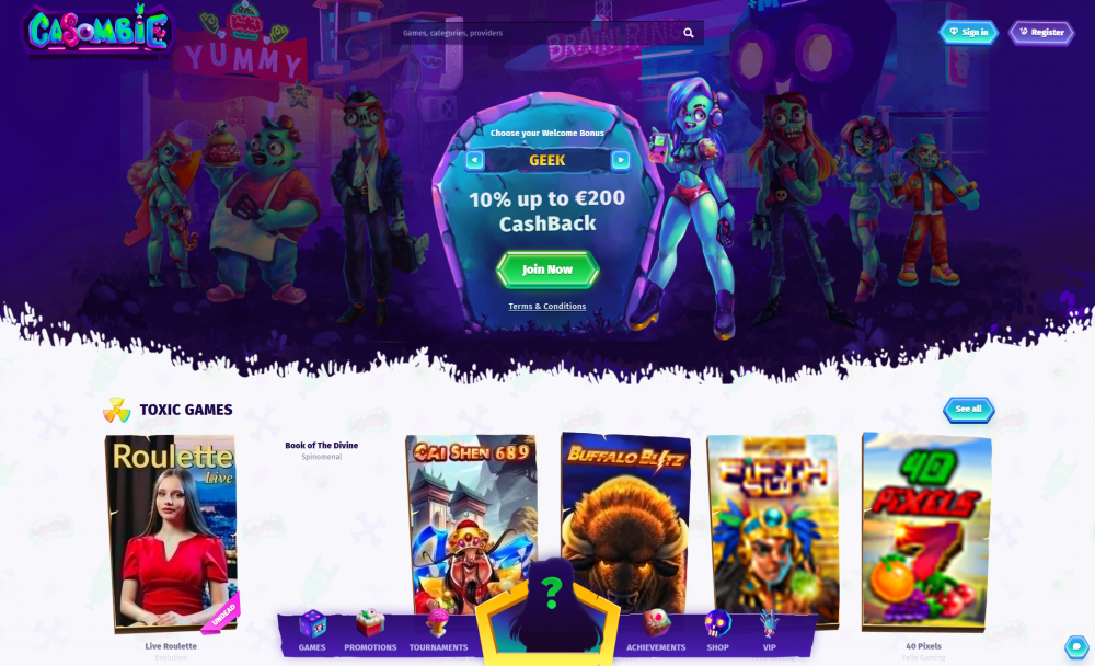 A view of Casombie main page
