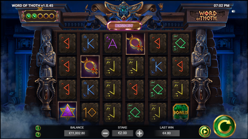 game view of online slot Word Of Thoth