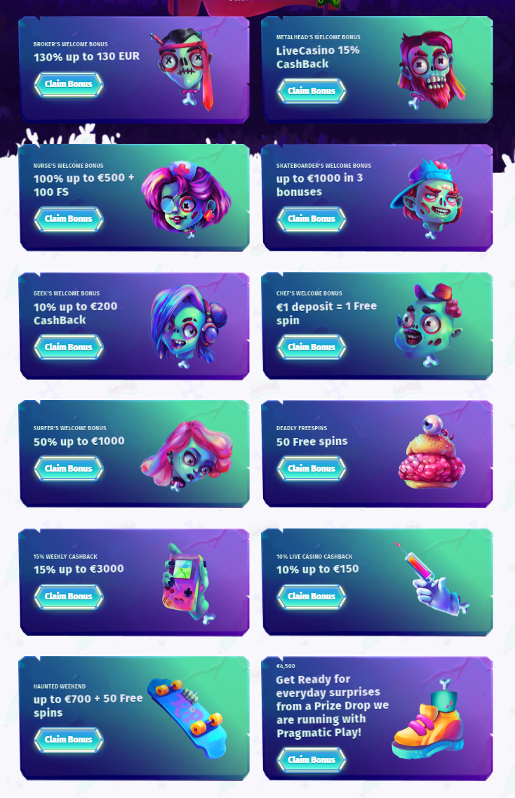 Shows all the welcome bonuses at Casombie