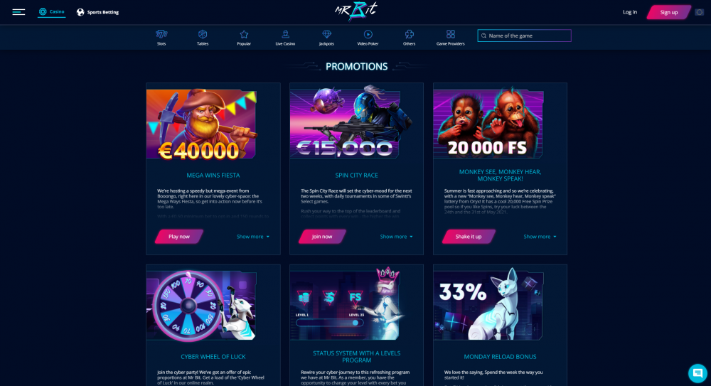 View of the slot game page