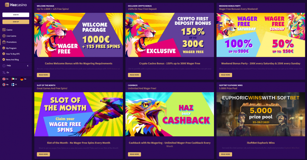 Print screen of Haz casinos promotion page