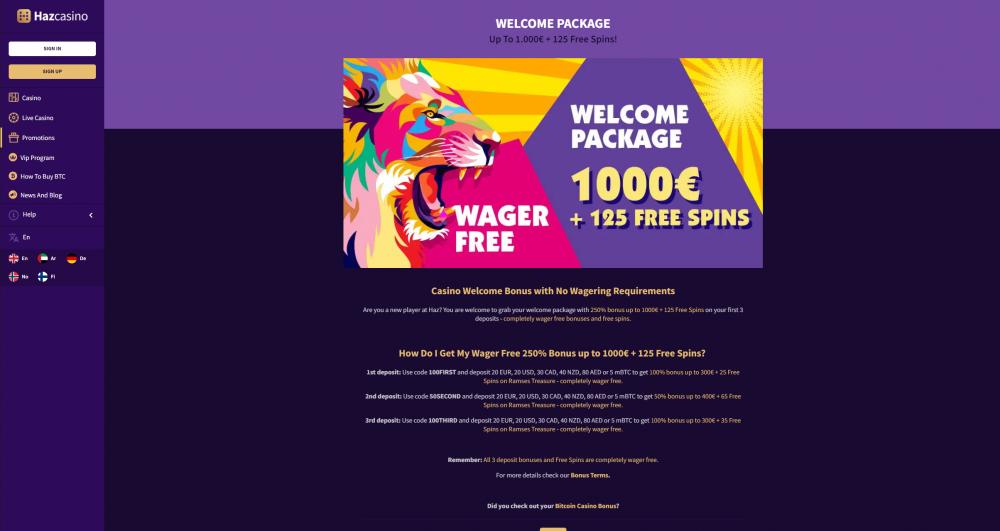 Print screen of Haz casinos welcome bonus